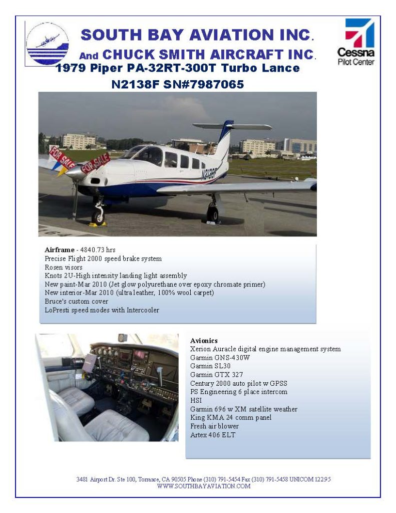 1979 Piper PA-32RT-300T Turbo Lance N2138F SN#7987065